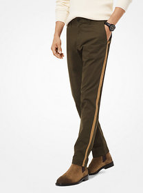 Michael Kors Striped Cotton-Twill Chino Pants