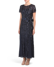 R&M RICHARDS Petite Short Sleeve Gown With Sequins