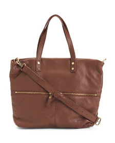 ASPEN Leather Dual Zip Front Pocket Tote