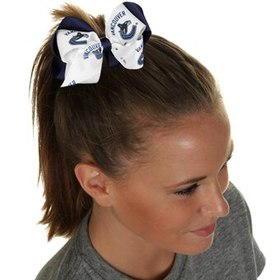 Vancouver Canucks Women's Double Bow - White/Navy