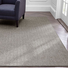 Crate Barrel Grey Herringbone Rug 5'x8'