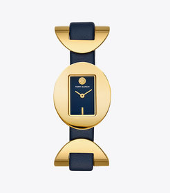 Tory Burch JACQUES WATCH, NAVY LEATHER, GOLD TONE,