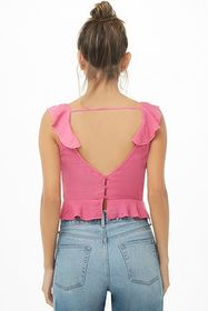 Forever21 Ruffle Tie-Front Crop Top