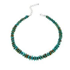 """Jay King Tyrone Turquoise Chip 18-1/4"""" Sterling Si"""