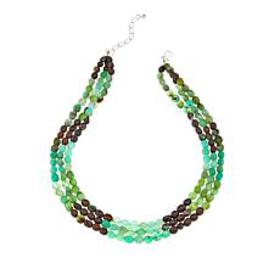 "Jay King 3-Strand Chrysoprase Bead 18"" Sterling Si"