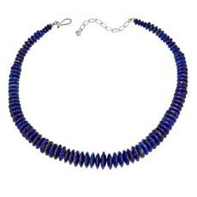 "Jay King Graduated Lapis Bead 18"" Sterling Silver"