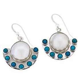 Jay King Cultured Mabé Pearl and Turquoise Drop Ea
