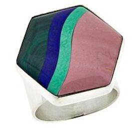 Jay King Multi-Gemstone Inlay Hexagon Sterling Sil