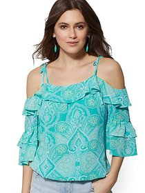 Medallion-Print Ruffled Cold-Shoulder Blouse - New