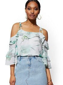 Floral Ruffled Cold-Shoulder Blouse - New York & C