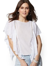 White Eyelet Scallop-Trim Top - New York & Company