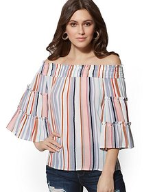 Stripe Off-The-Shoulder Blouse - New York & Compan