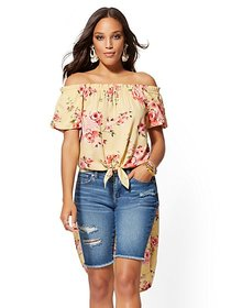 Yellow Floral Off-The-Shoulder Hi-Lo Blouse - New