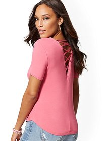 Back Lace-Up Top - Soho Soft Tee - New York & Comp