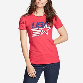 Women's Graphic T-Shirt - Retro USA Star