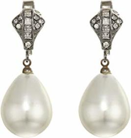 Kenneth Jay Lane Rhodium/Rhinestone White Pearl Cl
