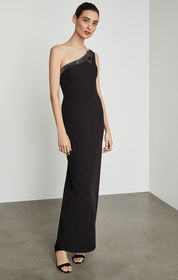 BCBG One Shoulder Sequin Band Gown