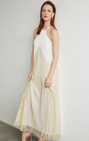 BCBG Colorblocked Pleated Maxi Dress