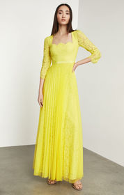 BCBG Scalloped Floral Lace Gown