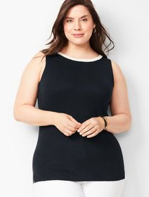 Talbots Plus-Size Tipped Linen Shell