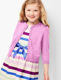 Talbots Girls Scallop Charming Cardigan