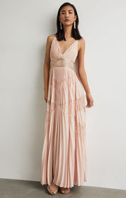 BCBG Pleated Lace Inset Gown