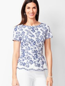 Talbots Embroidered Floral Peplum Top