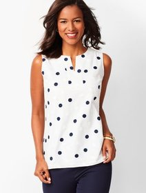 Talbots Dot Embroidered Shell