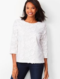 Talbots Floral Embroidery Top