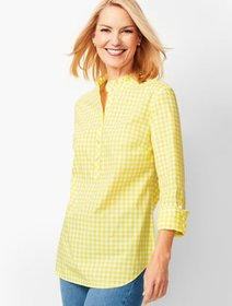 Talbots Classic Cotton Popover - Lemon Drop Gingha