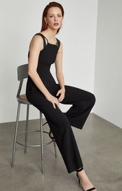 BCBG Sleeveless Pleather-Trimmed Jumpsuit