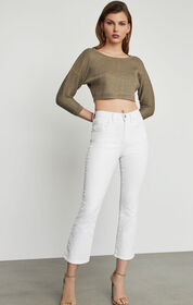 BCBG Metallic Knit Cropped Top