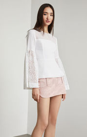 BCBG Lace-Trimmed Peplum Top
