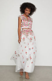BCBG Floral Embroidered Maxi Skirt