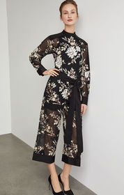 BCBG Embroidered Floral Sequin Jumpsuit