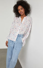 BCBG Wildflowers High-Low Blouse