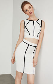 BCBG Fenella Two-Tone Cropped Top