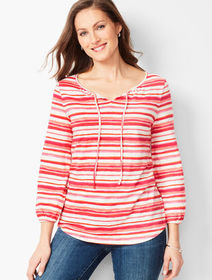 Talbots Gathered Tie-Neck Top - Watercolor Stripe