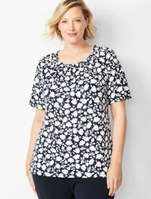 Talbots Plus Size Knit Jersey Gathered-Neck Top -