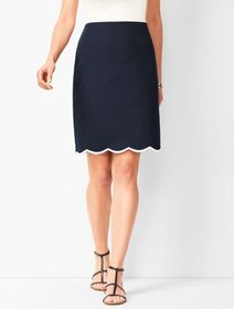 Talbots Embroidered Canvas A-Line Skirt