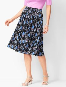 Talbots Pleated Wildflowers Midi Skirt