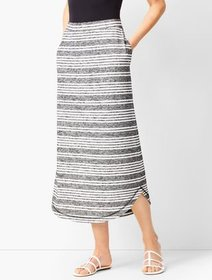 Talbots Curved-Hem Stripe Knit Skirt