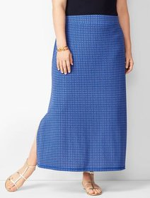 Talbots Plus Size Knit Jersey Geometric Maxi Skirt