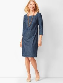 Talbots Square-Neck Denim Shift Dress