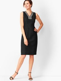 Talbots Tweed-Fringe Shift Dress