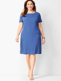 Talbots Plus Size Knit Jersey Shift Dress - Geo Pr