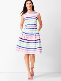 Talbots Sateen Stripe Fit & Flare Dress