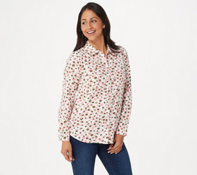 Denim & Co. Stretch Crepe Printed Dot Point Collar