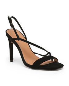 HALSTON HERITAGE Ankle Strap Suede Evening Shoes