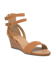FRANCO SARTO One Band Suede Wedge Sandals